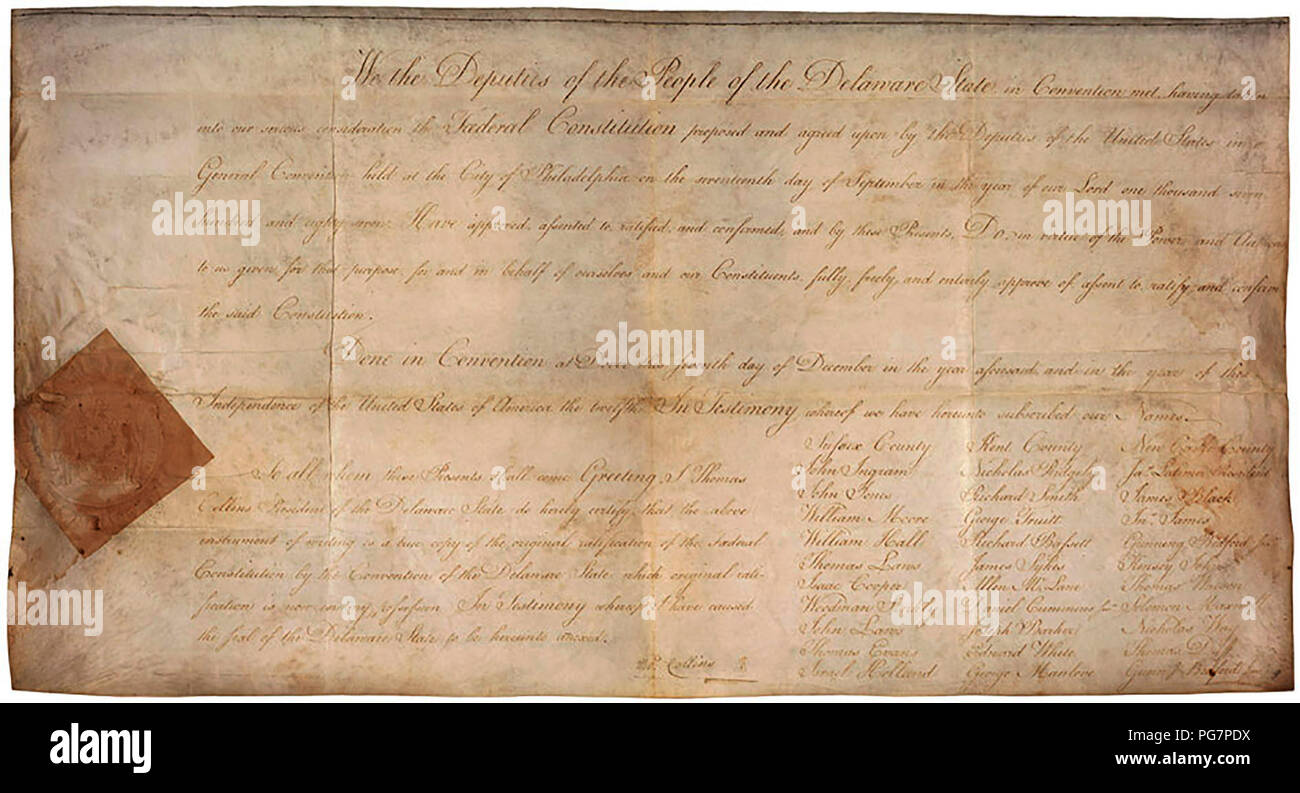 Delaware's Ratification of the U.S. Constitution - Stock Image