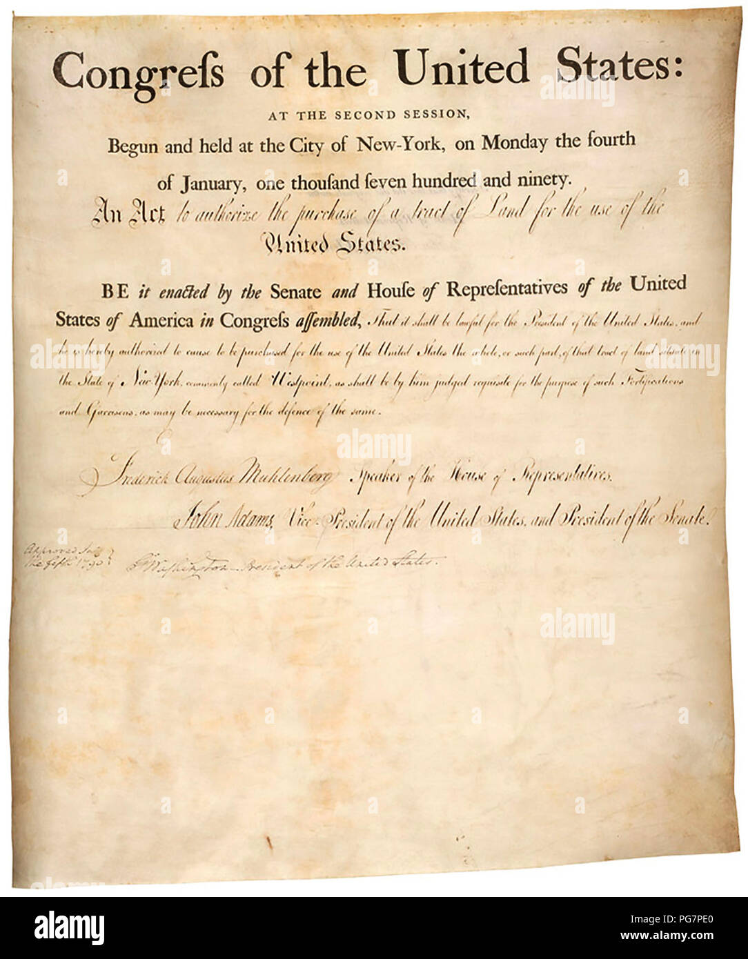 Act to authorize purchase of land (West Point) 07/05/1790 - Stock Image