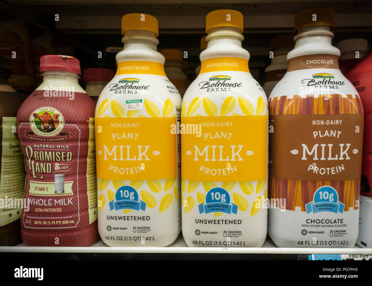 Bottles of Bolthouse Farms brand plant-based 'milk' are seen in a supermarket in New York on Friday, August 17, 2018. Bolthouse Farms is a brand of the Campbell Soup Co. purchased in 2012. (© Richard B. Levine) - Stock Image