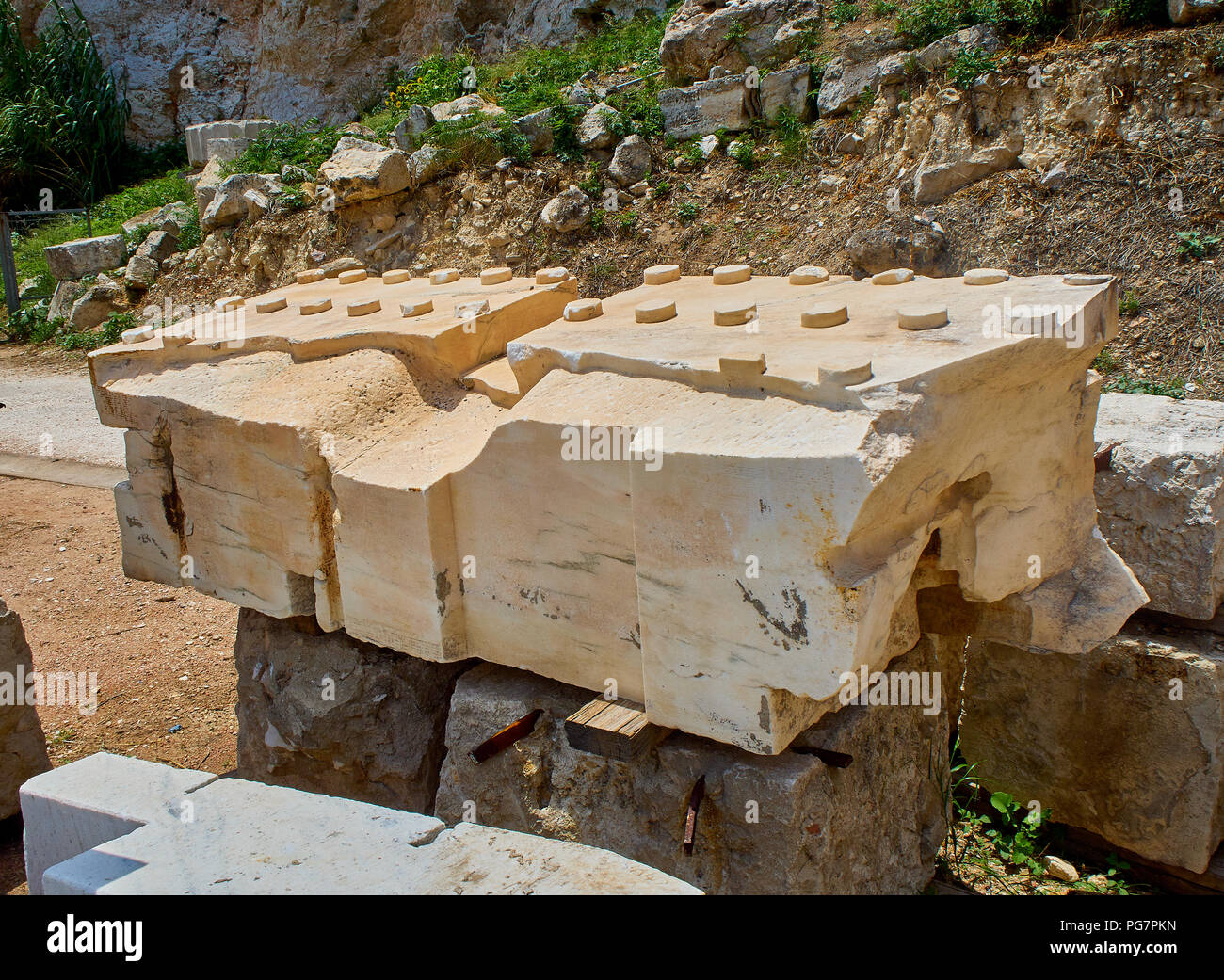 A Mutule of the Athenian Acropolis. A rectangular marble block that hangs from the soffit of the cornice in the Doric order. Athens. Attica, Greece. - Stock Image