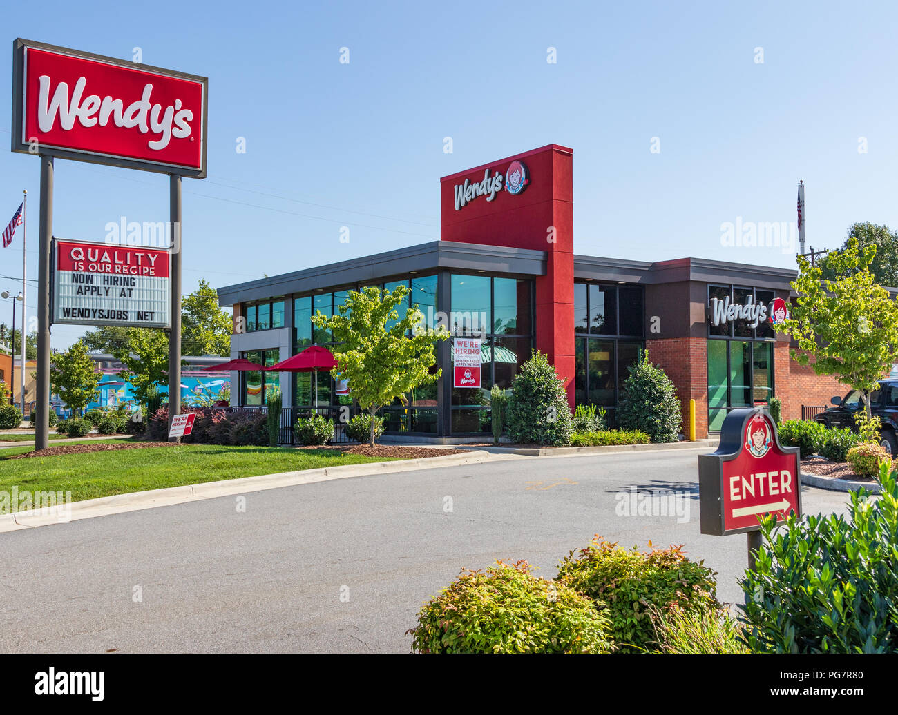 LENOIR, NC, USA-23 AUG 2018: A Wendy's fast food restaurant, one of 6500 locations. - Stock Image