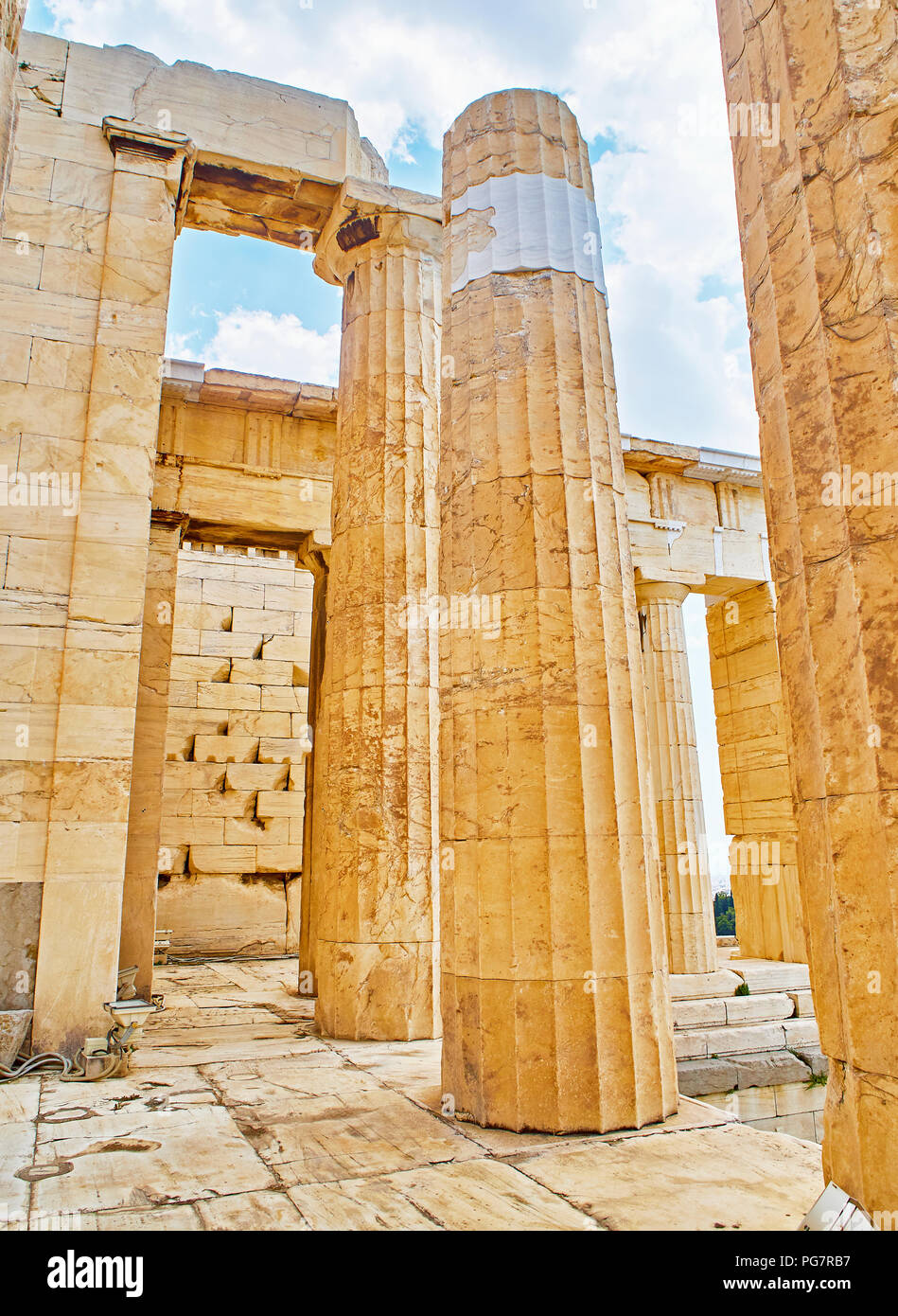 Doric columns of the western facade of Propylaea, the ancient gateway to the Athenian Acropolis. Athens. Attica, Greece. - Stock Image