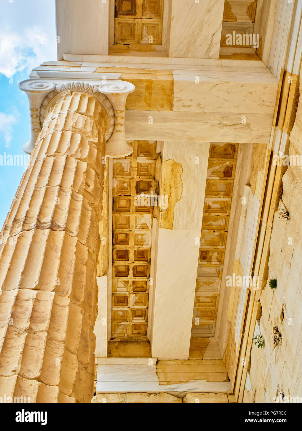 Doric column and restored architrave detail of eastern facade of Propylaea, the ancient gateway to the Athenian Acropolis. Athens. Attica, Greece. - Stock Image