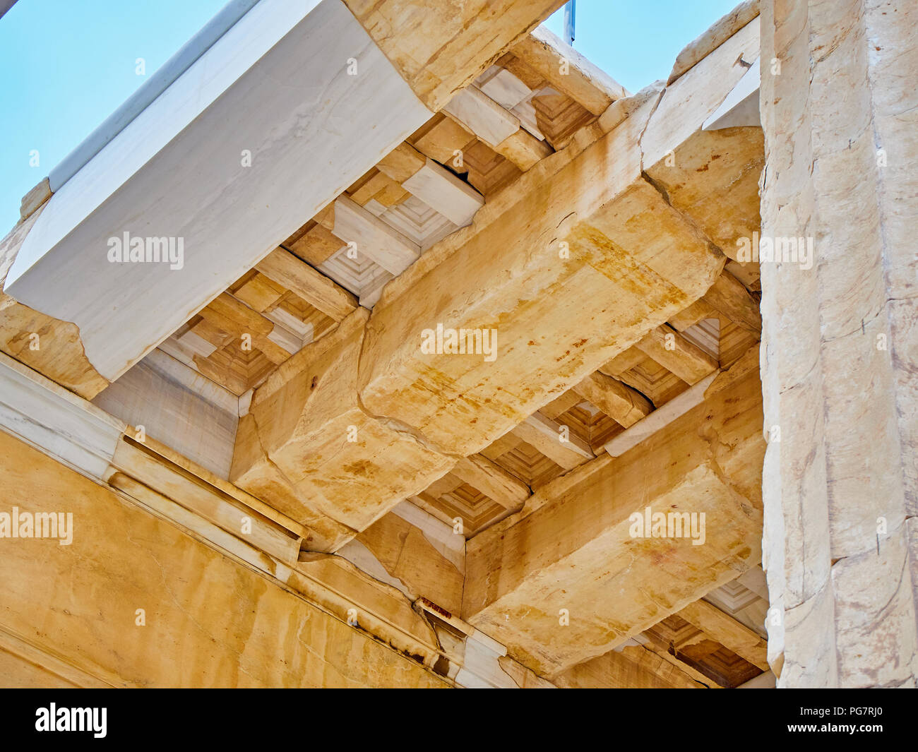 Restored architrave detail of eastern facade of Propylaea, the ancient gateway to the Athenian Acropolis. Athens. Attica, Greece. - Stock Image