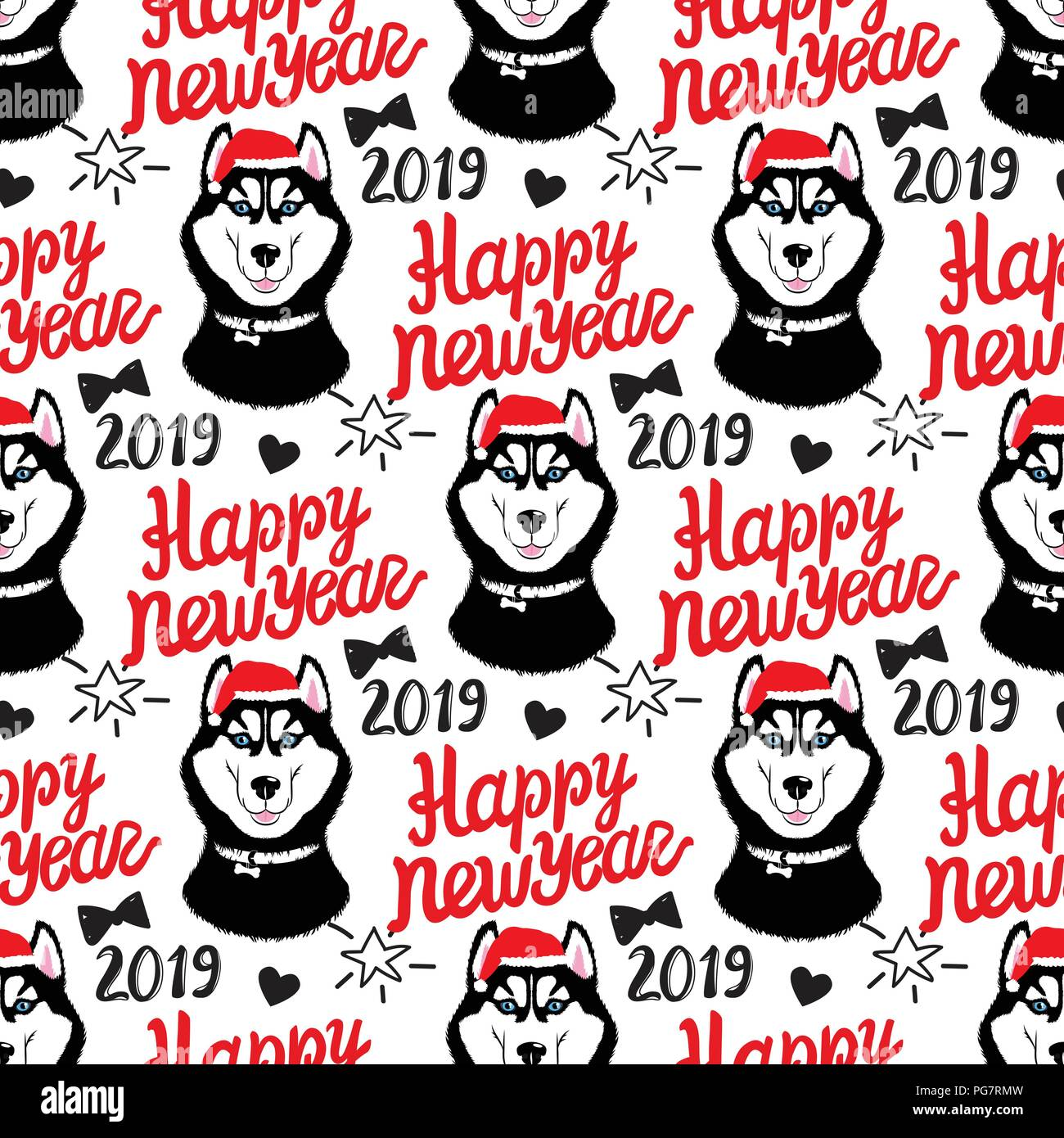 Husky in the cap of santa. Symbol of the year dog. Lettering 2019. Vector Seamless pattern for Happy New Year. - Stock Image