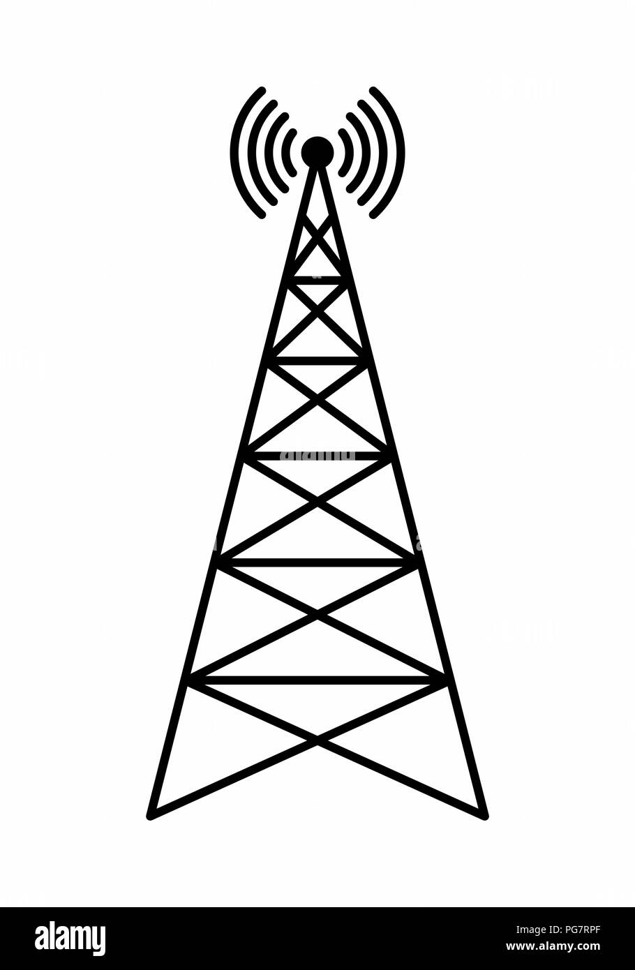 Illustration of a communication tower isolated on white background - Stock Image