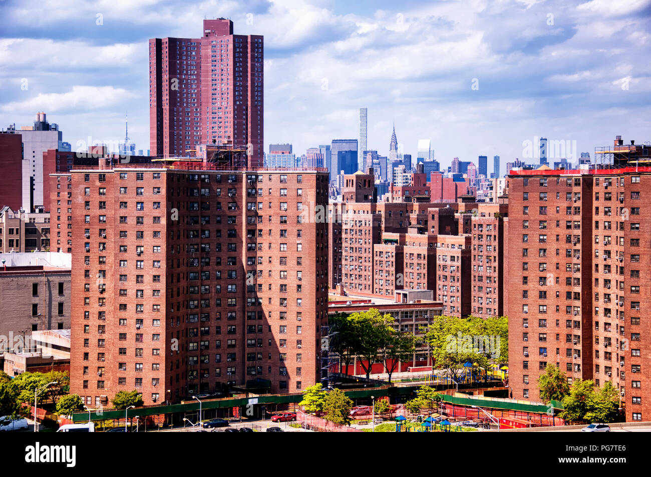 Brick apartment buildings in lower Manhattan in New York City, New York on an overcast day. Stock Photo