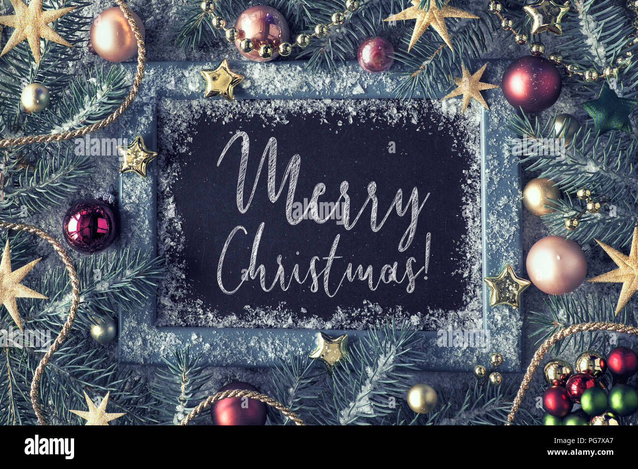 Green Pink And Golden Christmas Background With Blank Black Board Decorated Fir Twigs Around Chalk Board On Rustic Wood With Snow Top View With Tex Stock Photo Alamy