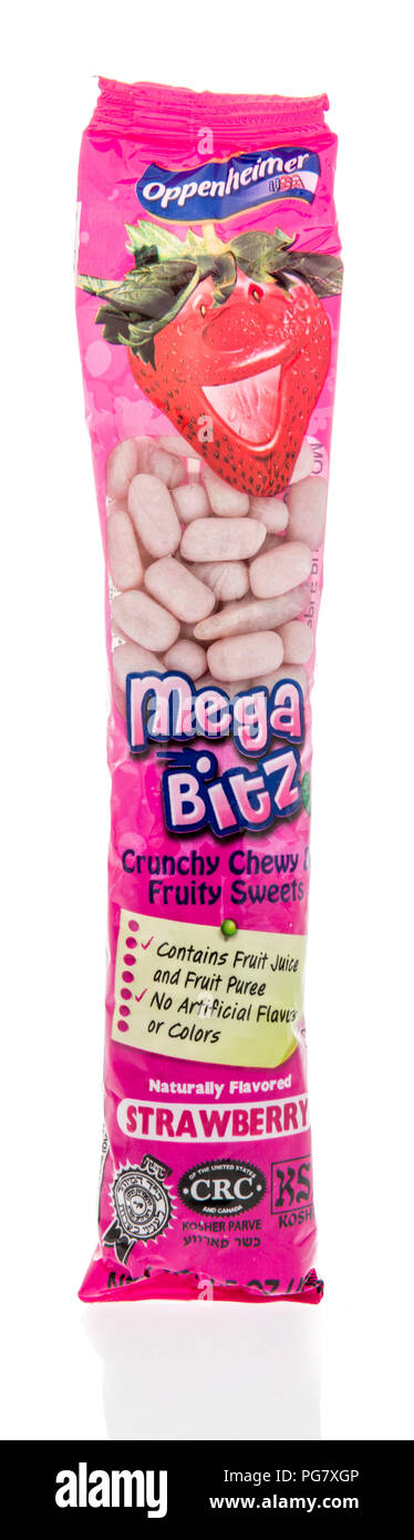 Winneconne, WI - 20 August 2018: A package of Oppenheimer Mega Bitz candy on an isolated background Stock Photo