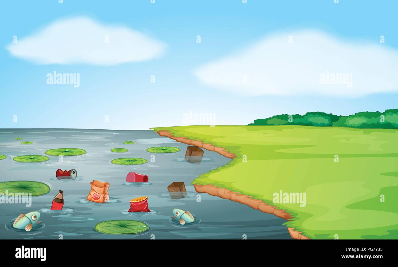A water pollution landscape illustration - Stock Vector