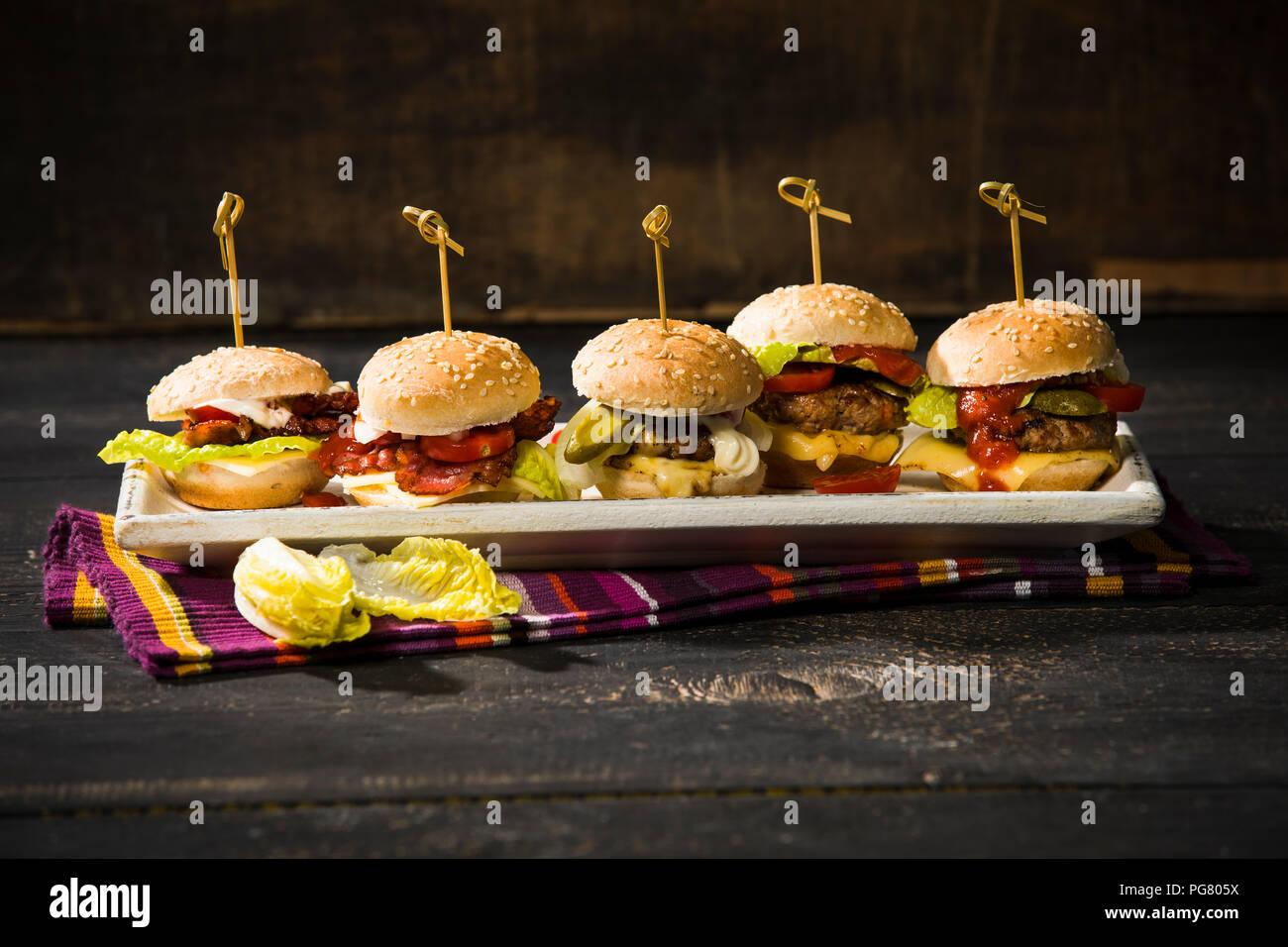 Mini burger on plate - Stock Image