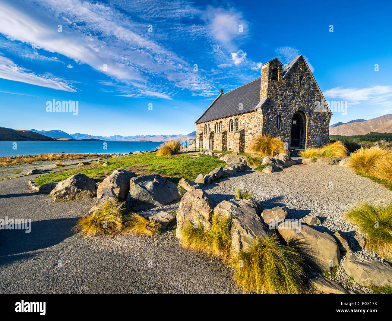 New Zealand, South Island, Canterbury Region, Church of the Good Shepherd - Stock Image