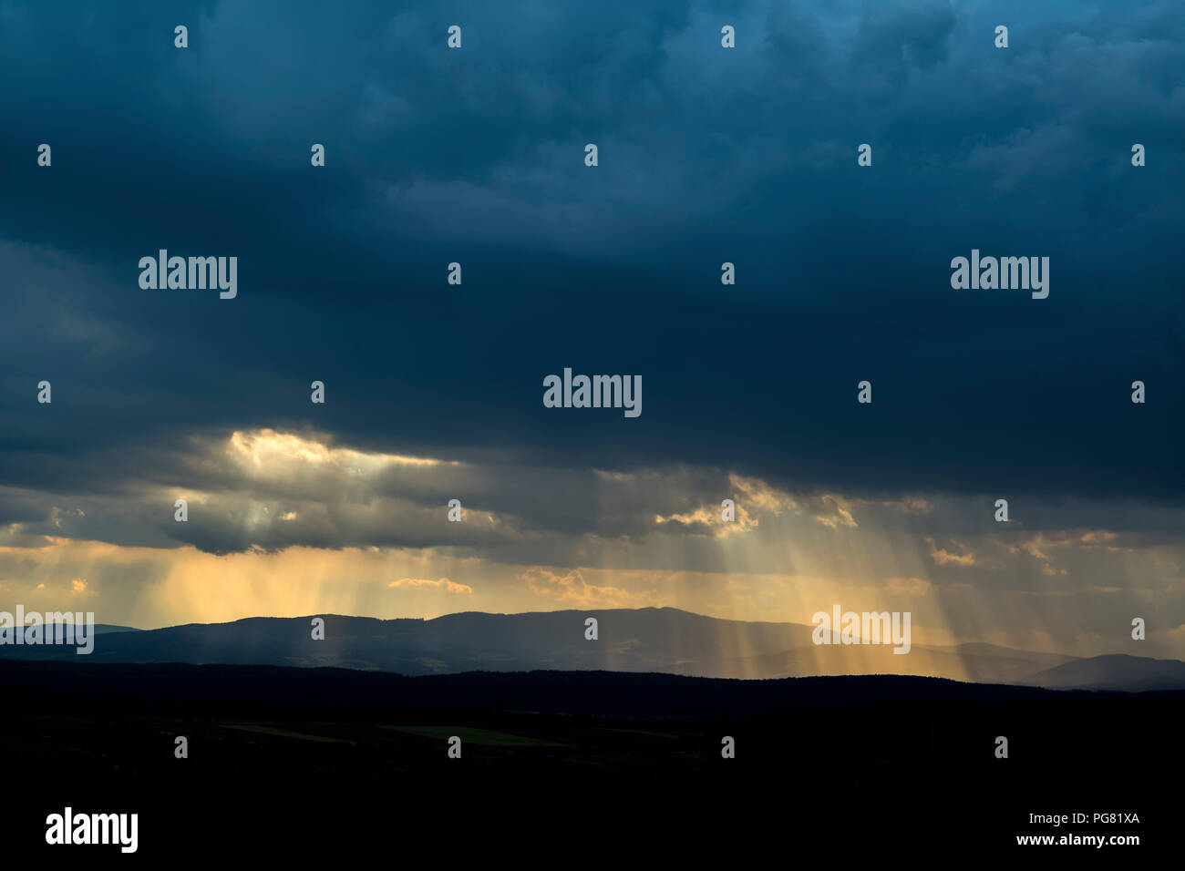 Germany, dark and dramatic cloudy mood during thunderstorm - Stock Image