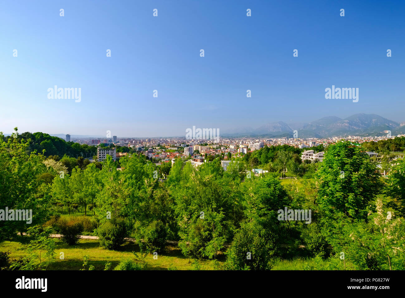 Albania, Tirana, View from National Martyrs Cemetery to the city - Stock Image