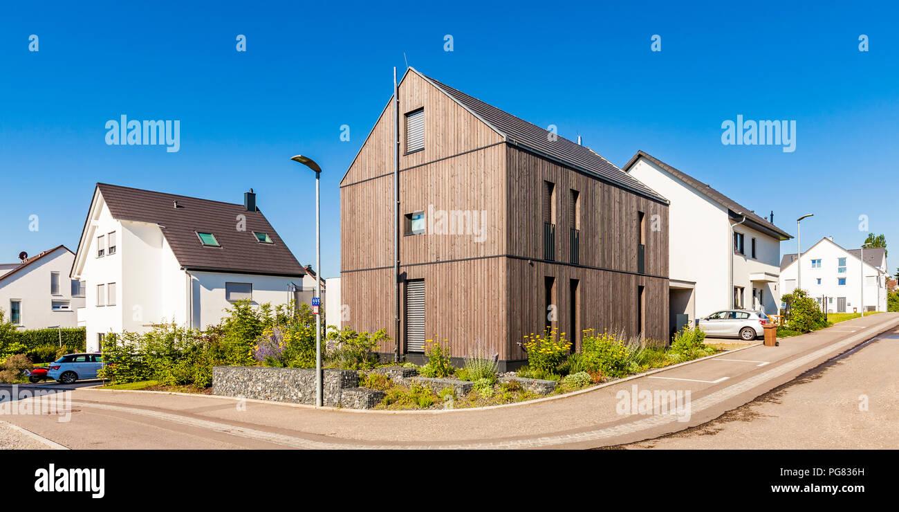 germany baden wuerttemberg stuttgart ostfildern modern efficiency house wooden facade