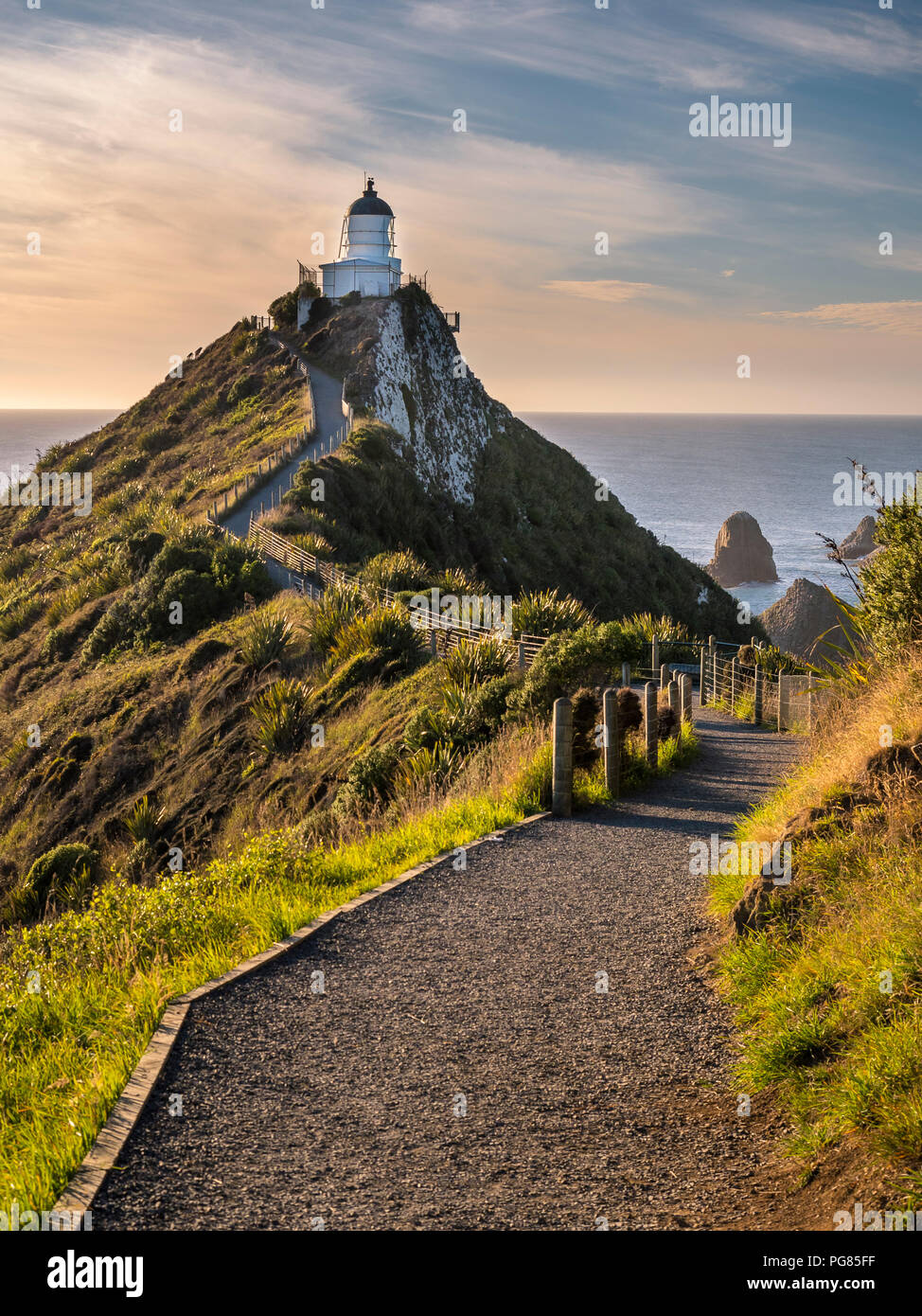 New Zealand, South Island, Southern Scenic Route, Catlins, Nugget Point Lighthouse - Stock Image