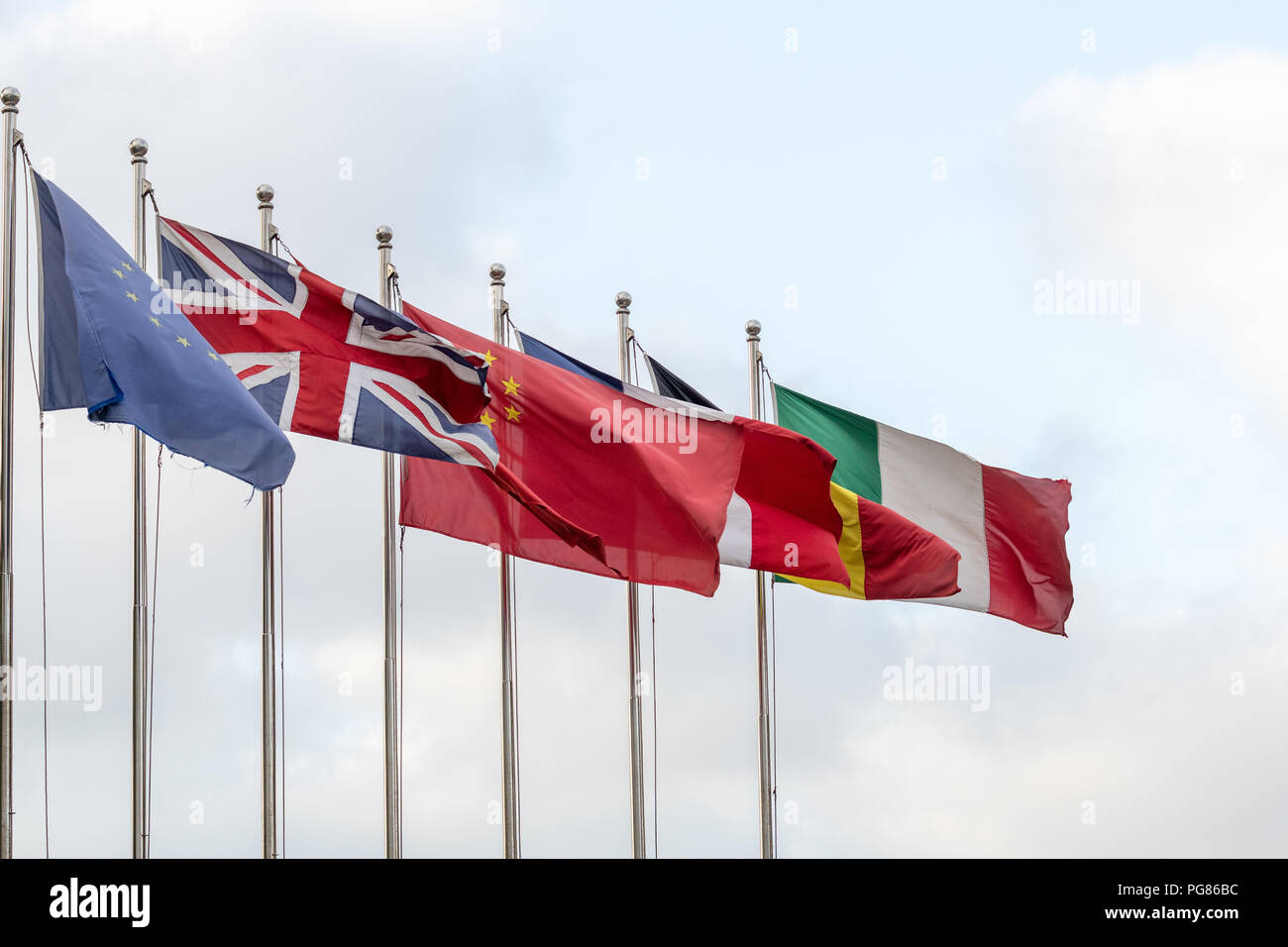 Flag poles with flags of Europ...