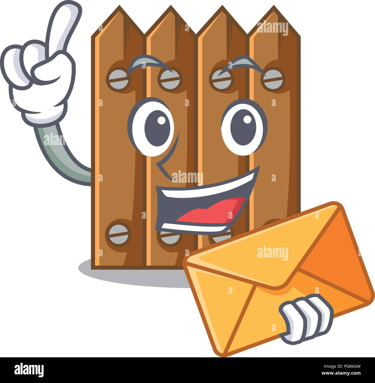 With envelope character close up on wooden fence door - Stock Vector