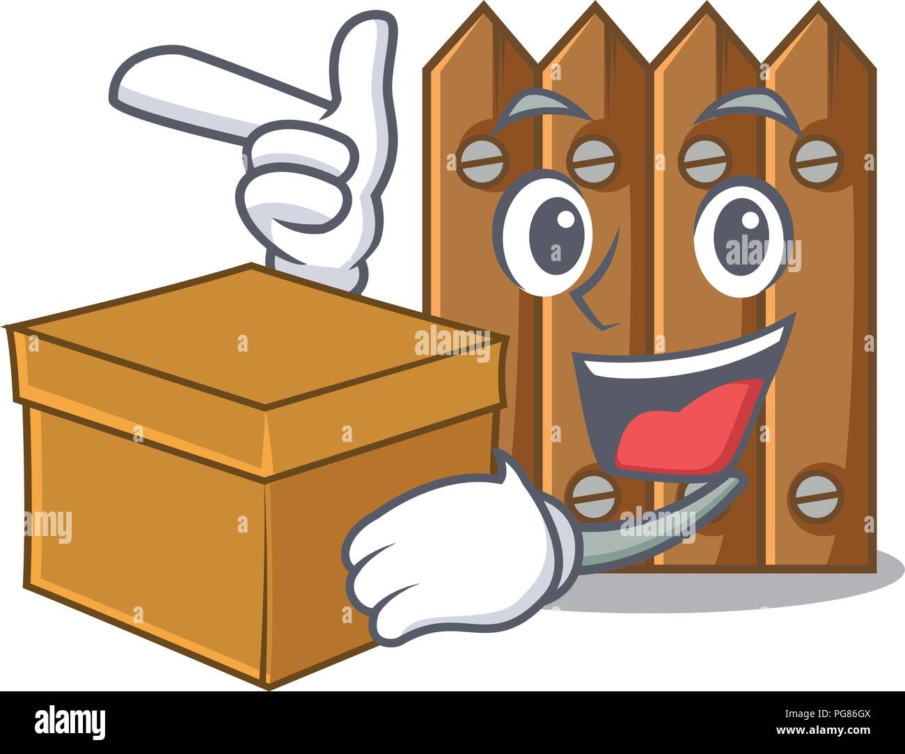 With box character close up on wooden fence door - Stock Vector