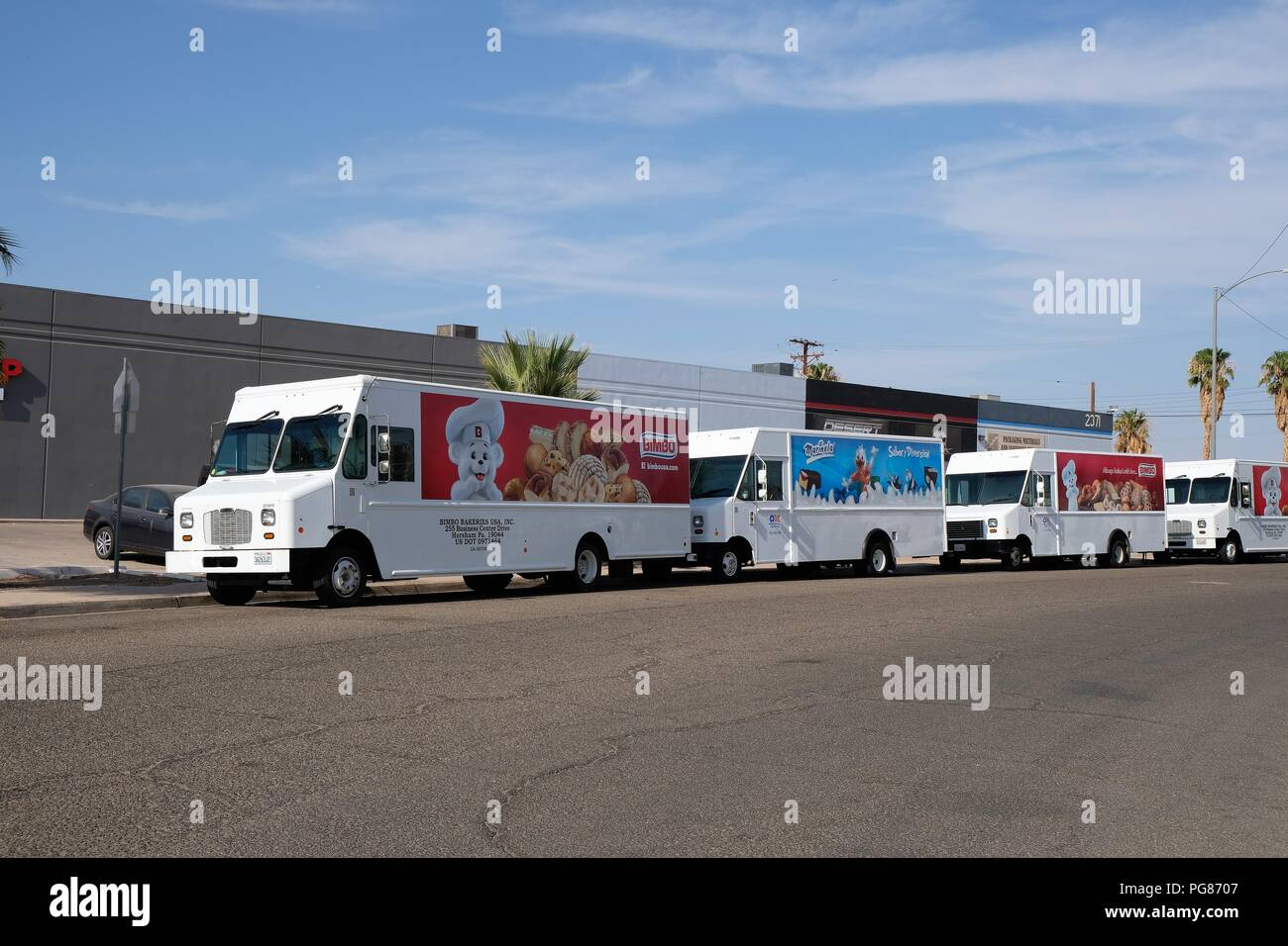 Bimbo bakery delivery trucks in Calexico, California, United States. - Stock Image