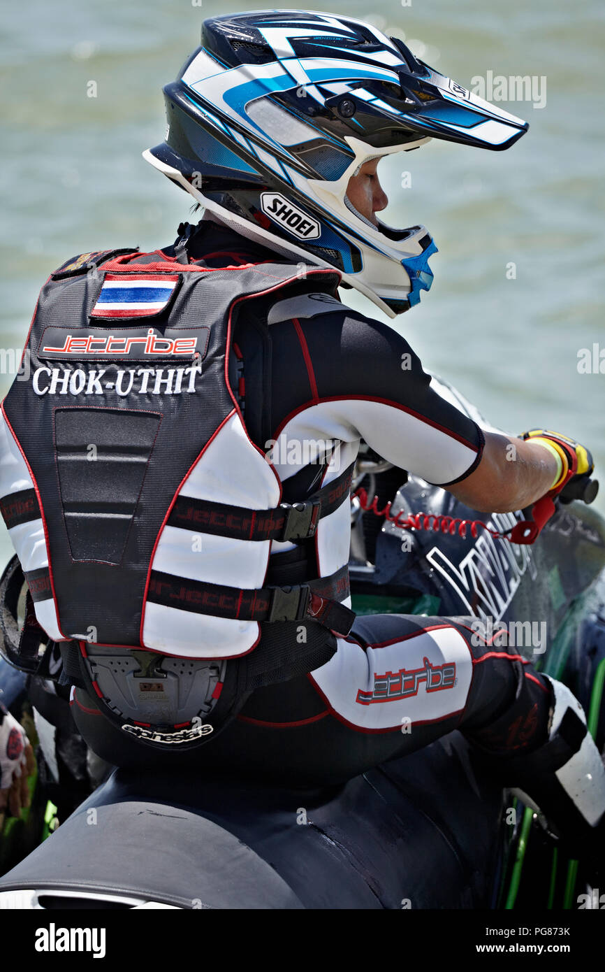 Jet Ski race competitor in full safety equipment - Stock Image