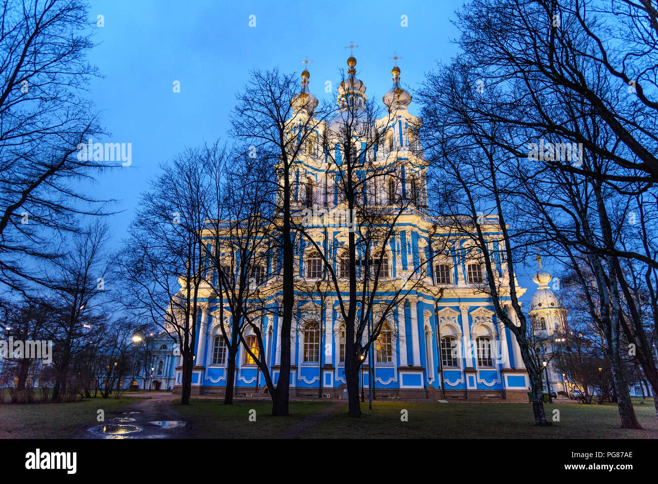 Smolny Cathedral at night in Saint Petersburg. Russia - Stock Image