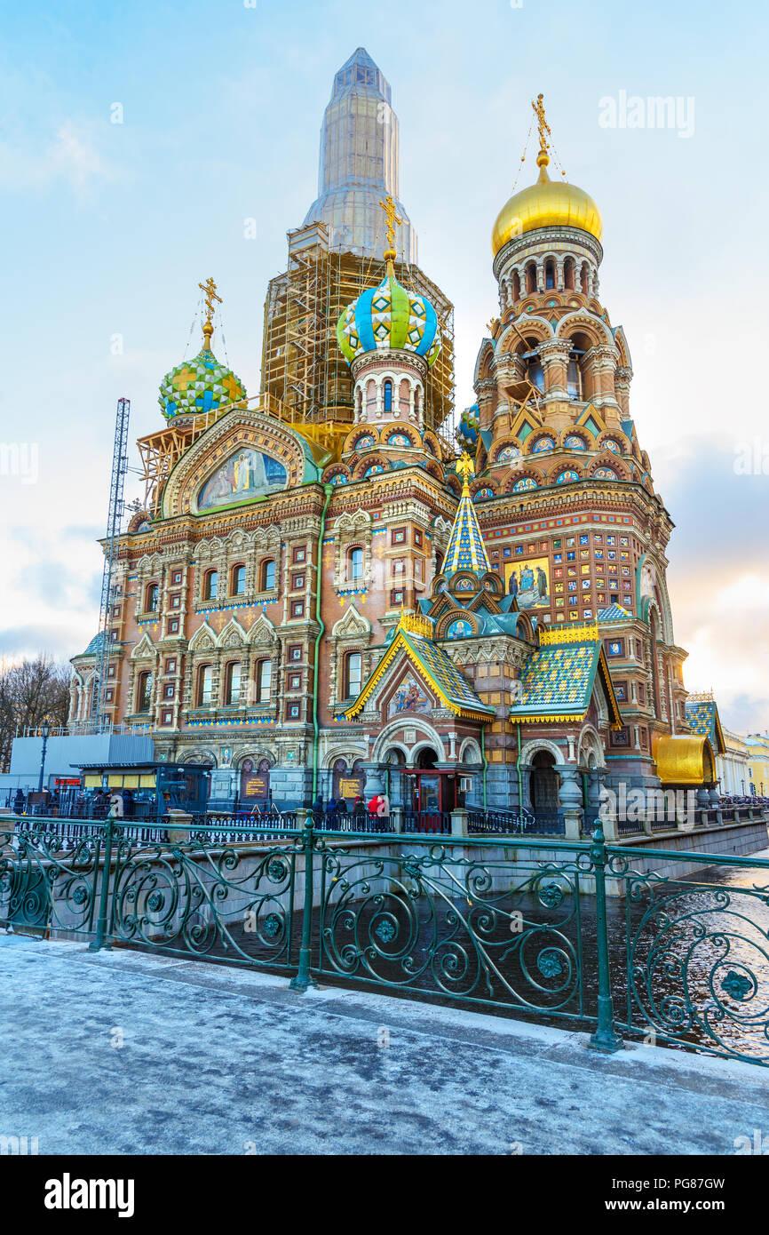 Church of the Savior on Blood in winter. Saint Petersburg, Russia - Stock Image
