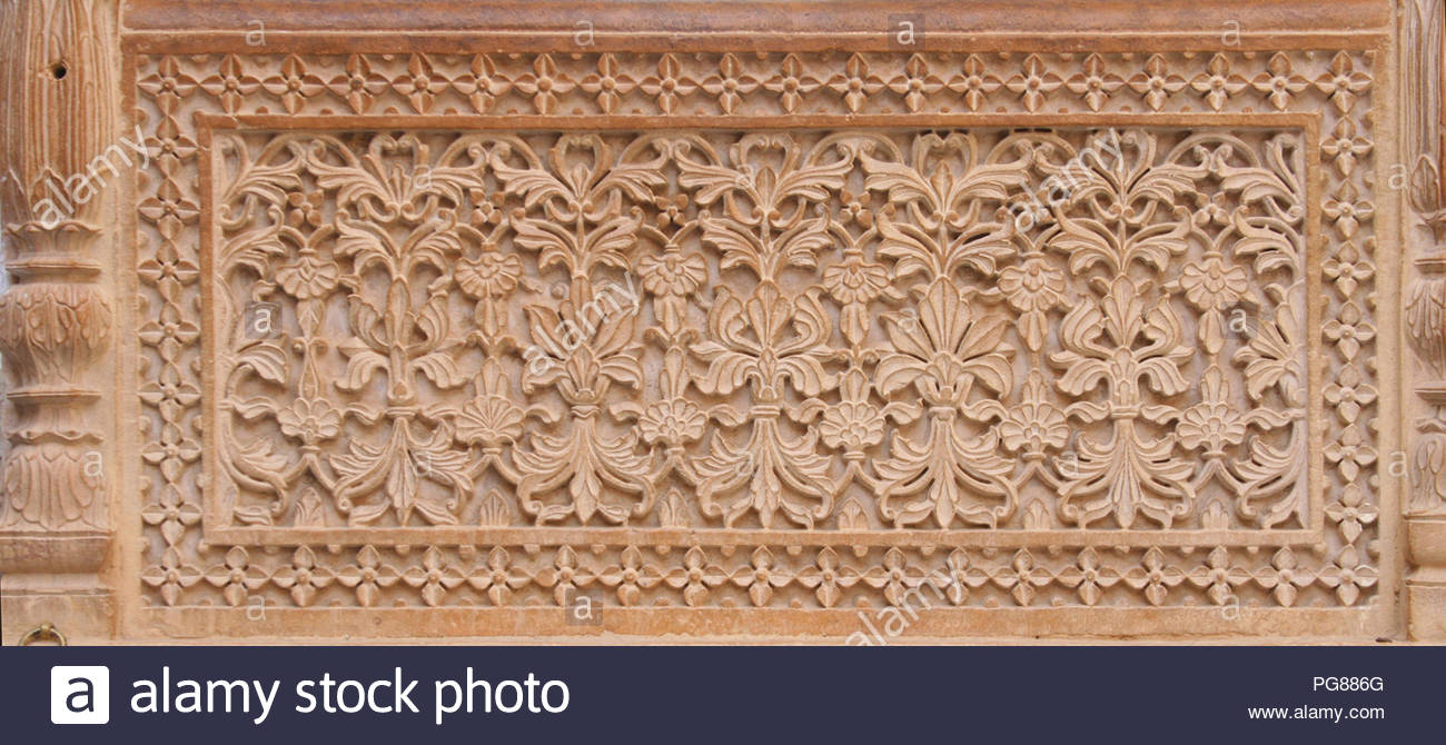 Floral classical Rajasthan ornament on ruins of the royal ancient Maharajas rulers in Bada Bagh, also called Barabagh - Stock Image