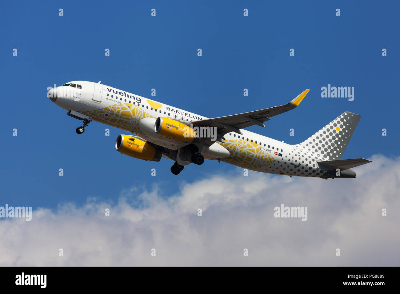 Barcelona, Spain - August 15, 2018: Vueling Airbus A320 with Vueling Loves Barcelona special livery taking off from El Prat Airport in Barcelona, Spai - Stock Image