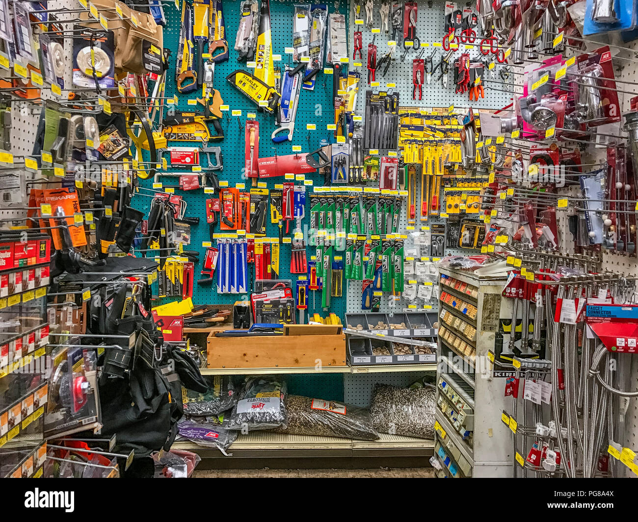 Product display in a hardware store. - Stock Image