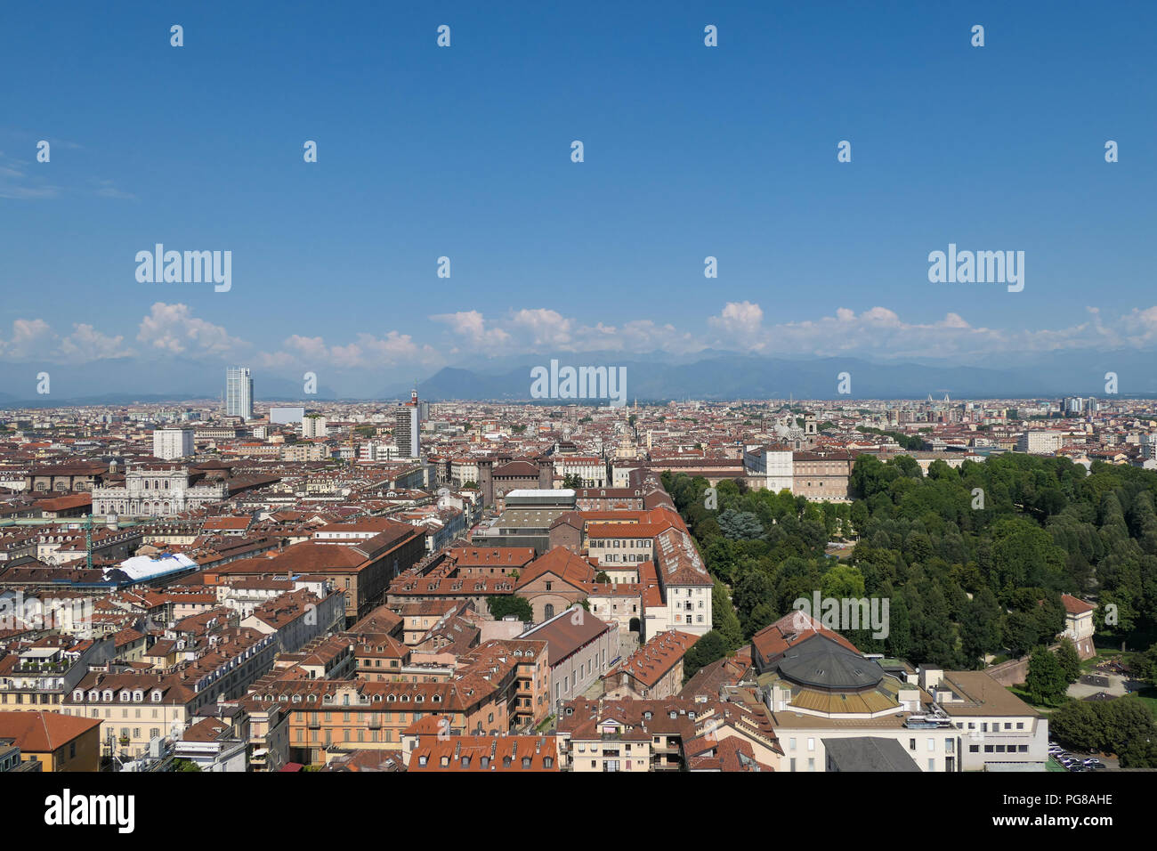 view of Turin and alps from the Mole Antonelliana, Italy - Stock Image