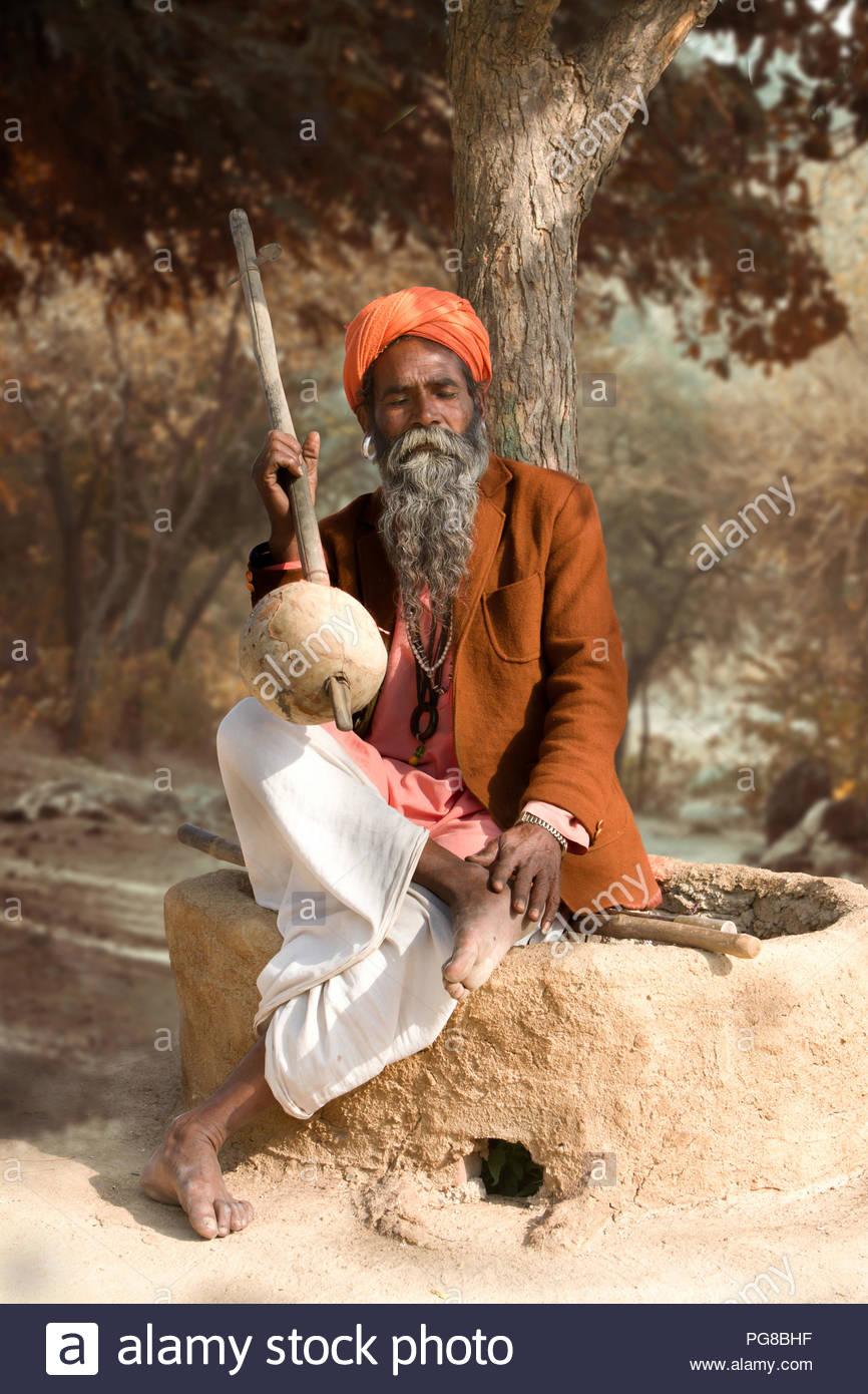 Indian Sadhu Prayer to loard - Stock Image