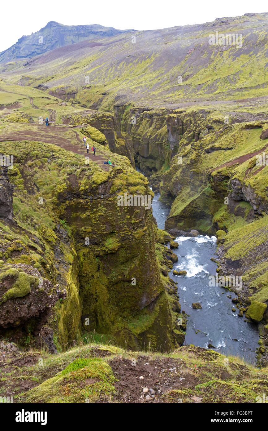 Waterfall in Iceland, on part of the Laugavegur trail. - Stock Image