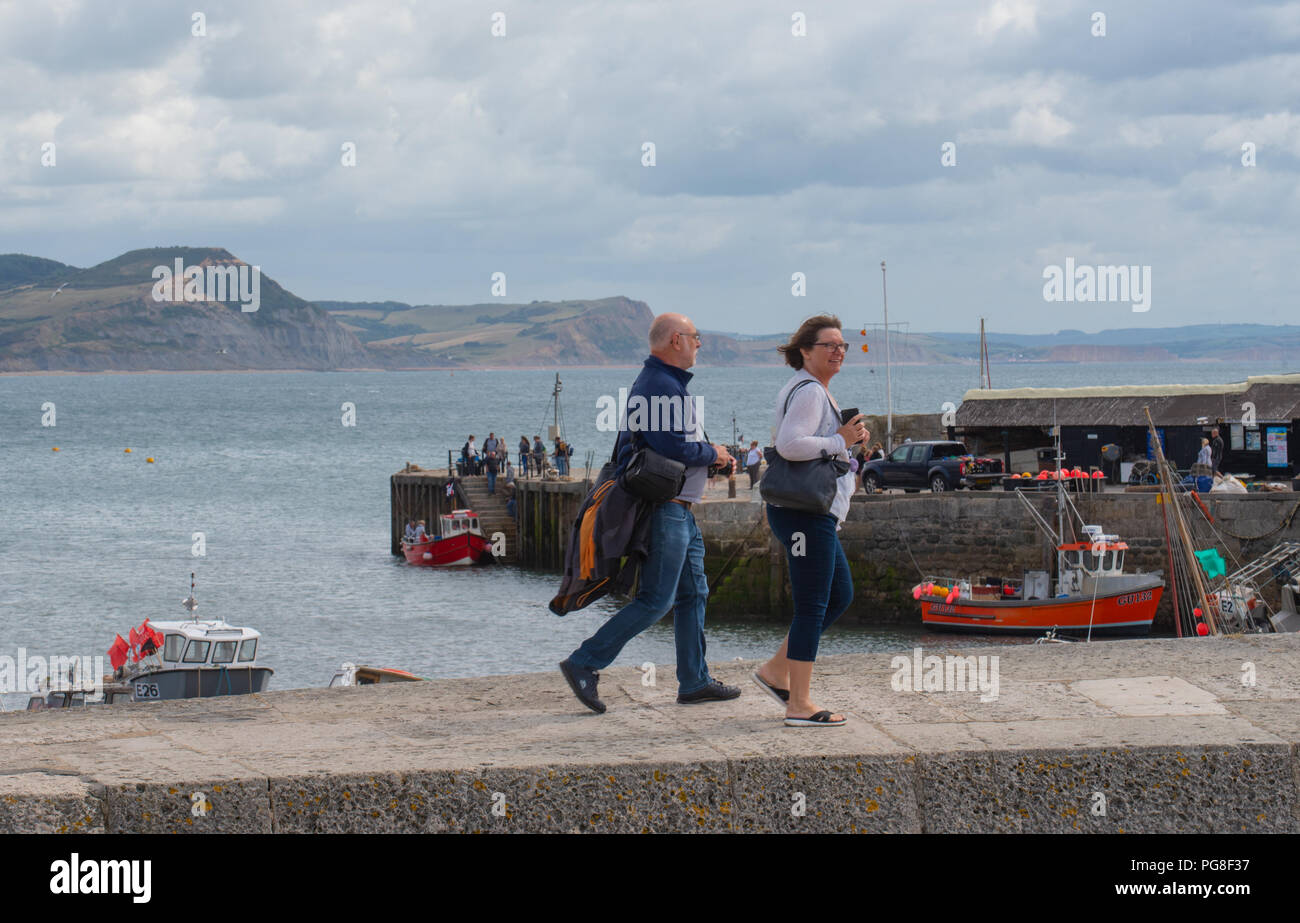 cc5450fa08 24th August 2018  Cooler and cloudier conditions with some sunny spells at  Lyme Regis. Credit  Celia McMahon Alamy Live News