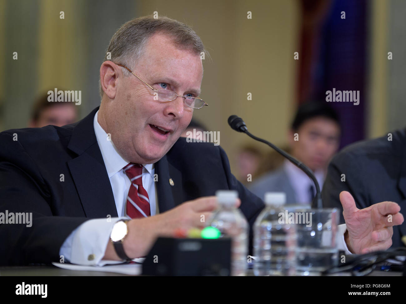 Washington, DC, USA. 23rd Aug, 2018. Deputy Senate Sergeant at Arms Jim Morhard appears before the Senate Committee on Commerce, Science, and Transportation as the nominee for Deputy Administrator of NASA on Thursday, Aug. 23, 2018 in the Russell Senate Office Building in Washington. Photo Credit: (NASA/Bill Ingalls) National Aeronautics and Space Administration via globallookpress.com Credit: National Aeronautics And Space A/Russian Look/ZUMA Wire/Alamy Live News - Stock Image