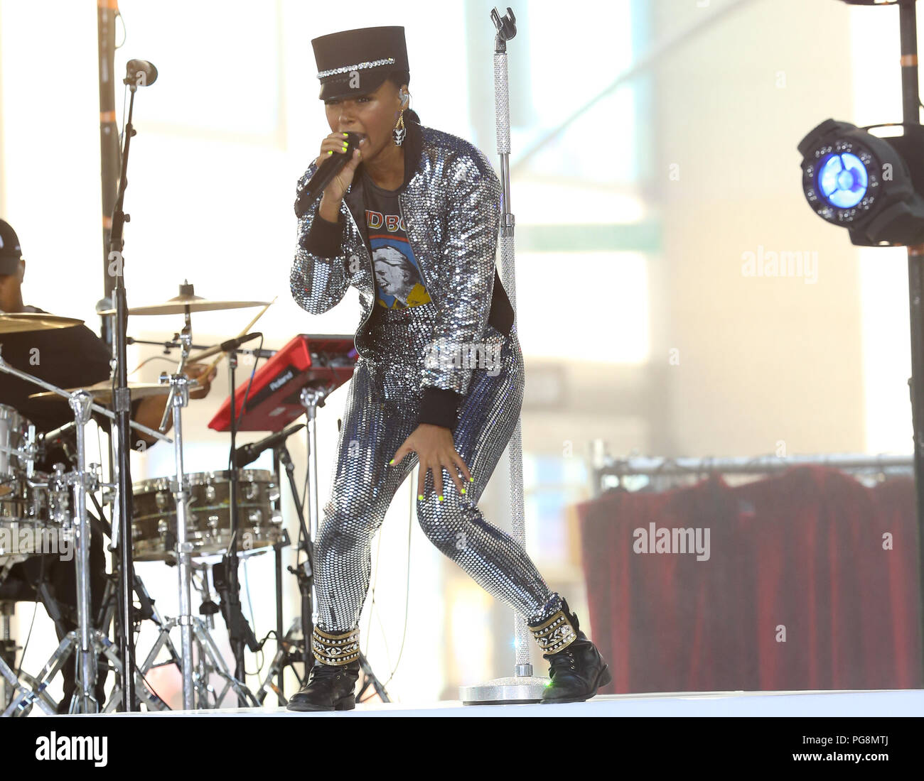 New York, USA. 24th Aug 2018. Janelle Monae performs on NBC's Today Show as part of the Citi Concert Series on August 24th, 2018 in New York City Credit: MPA/Alamy Live News Stock Photo