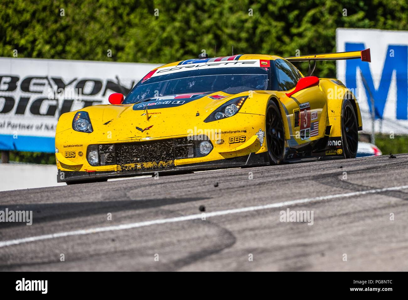 Bowmanville, CAN., 08 Jul 2018. 8th July, 2018. The number 3 Corvette C7.R, driven by the team of Jan Magnussen and Antonio Garcia, in the GT Le Mans series, navigate the hairpin number 5 Moss corner on 08 of July, 2018 at Canadian Tire Motorsport Park during the Mobil 1 SportsCar Grand Prix weekend. Credit: Victor Biro/ZUMA Wire/Alamy Live News Stock Photo