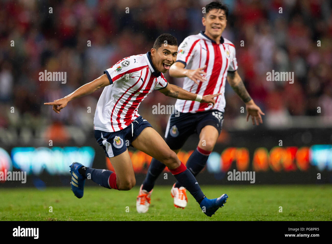 2ea872f7bed Chivas' Orbelin Pineda (L) celebrates after scoring a goal during a match  between