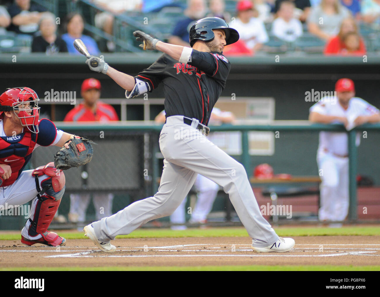 August 24, 2018: Nashville outfielder, Dustin Fowler (7), at bat during the Pacific Coast League Triple-A baseball game at Auto Zone Park in Memphis, TN. Memphis defeated Nashville, 9-3. Kevin Langley/CSM - Stock Image