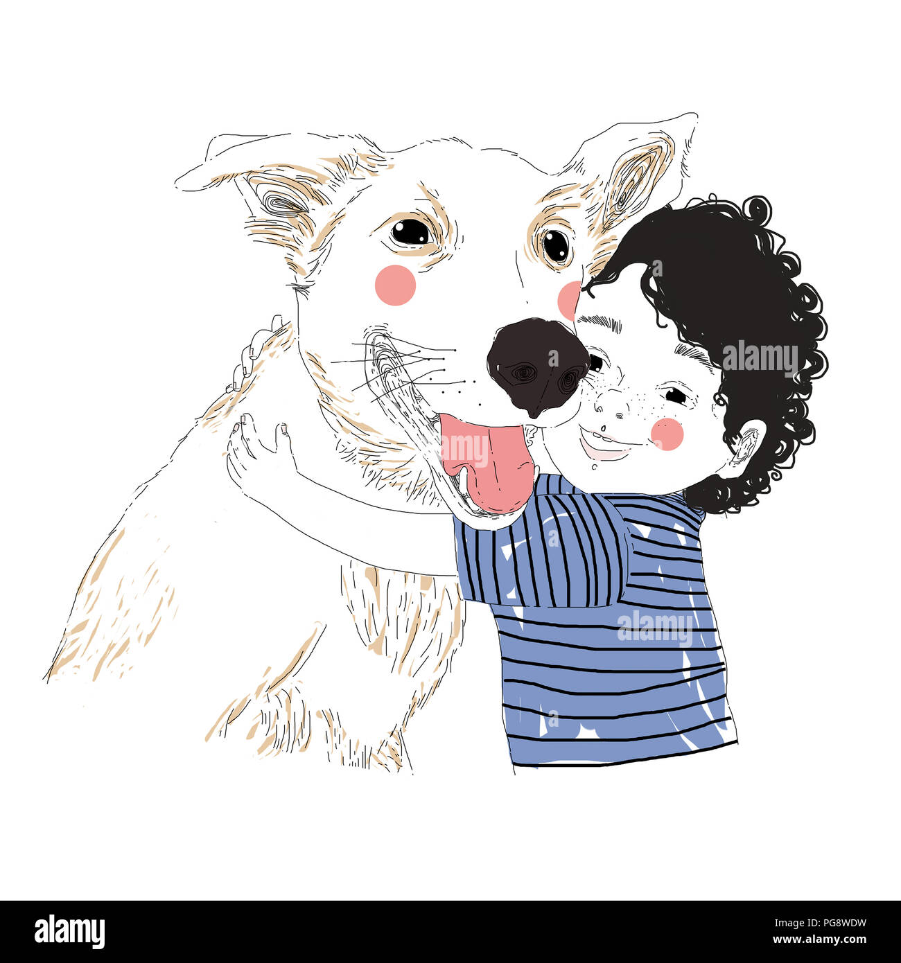 Illustration of a cute little boy hugging his friend big dog. True friendship concert. Carrying of pets concept. Can be used for t-shirt print, kids w - Stock Image