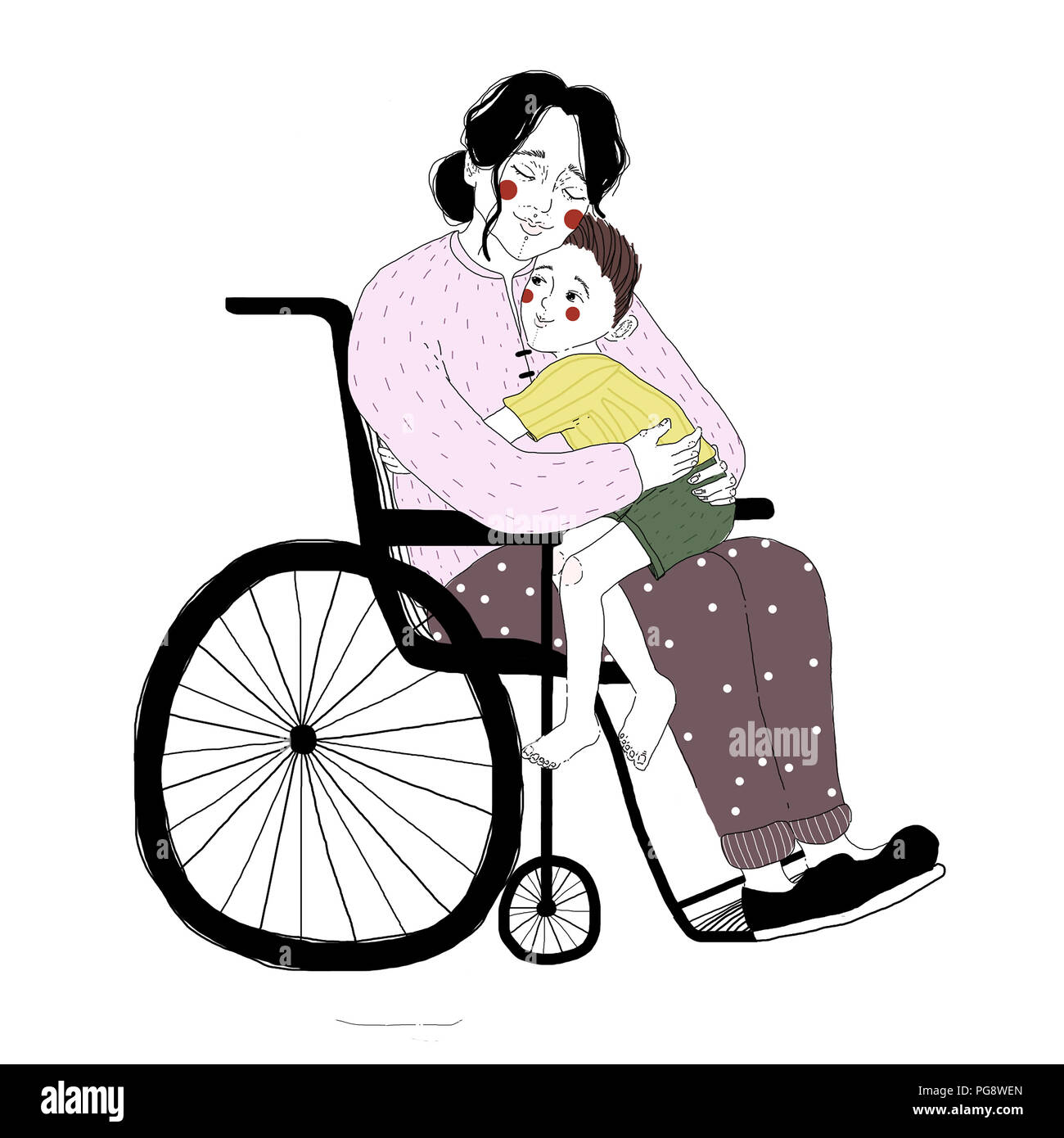 Drawing of disabled woman in wheelchair hugging little boy sitting on her lap. Pair of loving mother and son isolated on white background. Adorable mo - Stock Image
