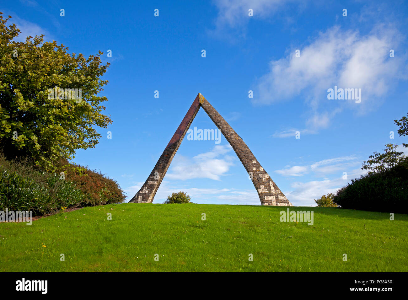 Deer Park, Livingston East Roundabout.Situated on the main roundabout as you turn off the M8 'Norgate' symbolically announces to visitors the entrance - Stock Image