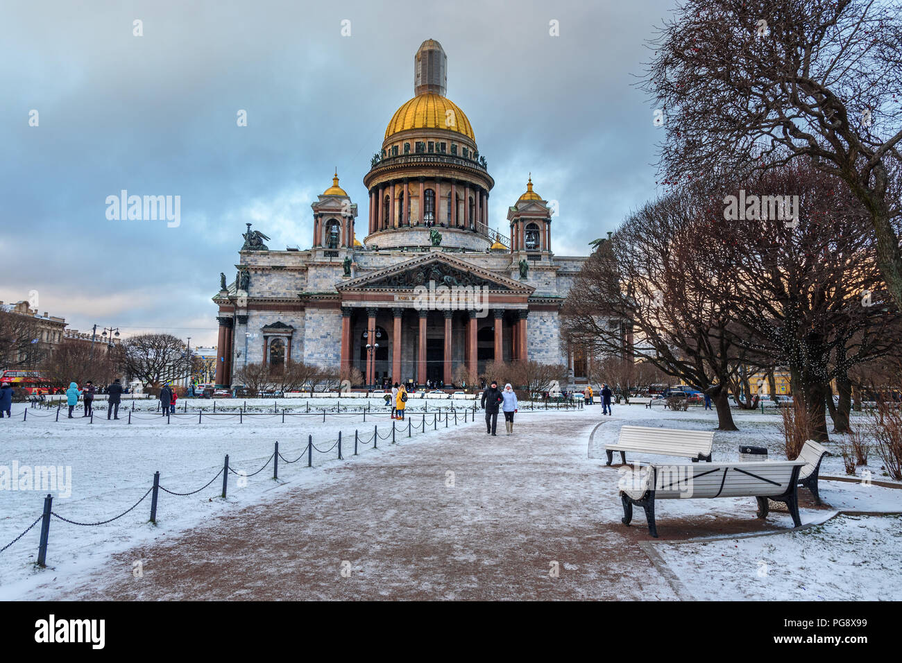 Saint Petersburg, Russia - January 7, 2018: Saint Isaac's Cathedral in winter Stock Photo