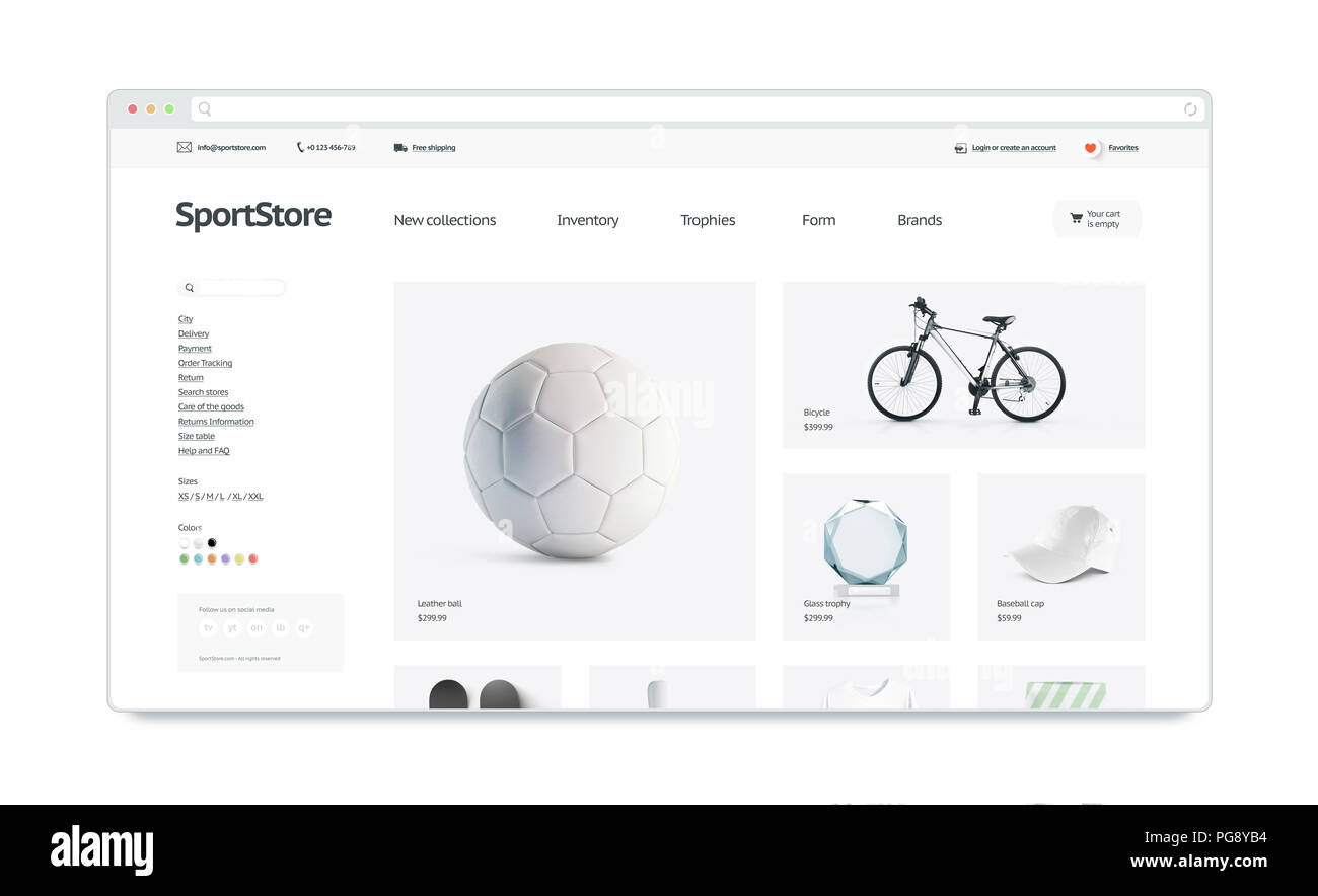 Sport webstore site template mock up isolated, 3d illustration ...