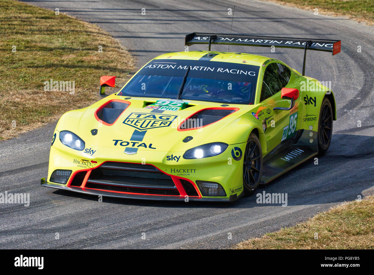 2018 Aston Martin V8 Vantage Gte Le Mans Racer With Driver Nicki Thiim At The 2018 Goodwood Festival Of Speed Sussex Uk Stock Photo Alamy