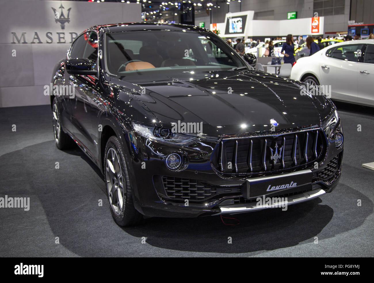 Bangkok, Thailand - August 22, 2018: Maserati Levante crossover SUV presented in Big Motor Sale 2018 - Stock Image