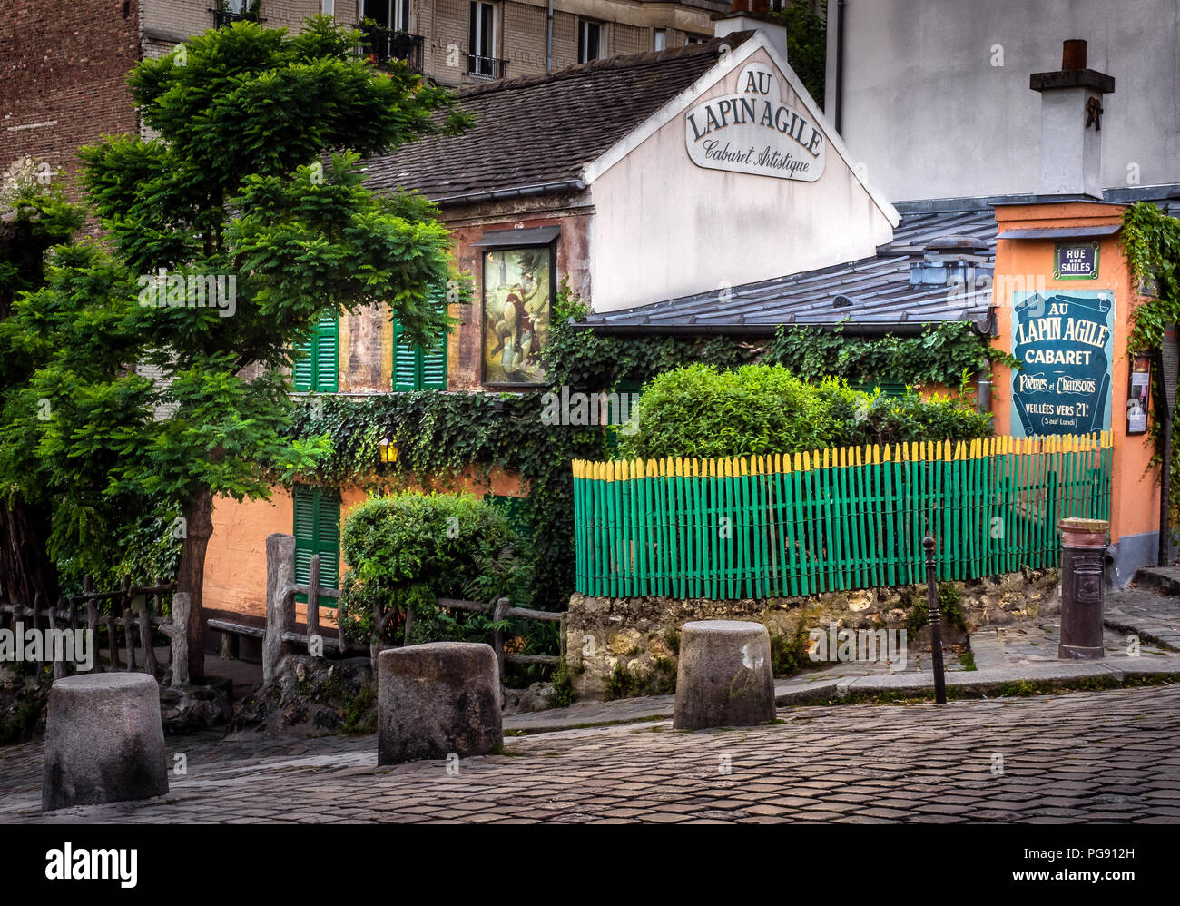Lapin Agile is an old and  famous Montmartre cabaret bar in 18th arrondissement of Paris, France. - Stock Image