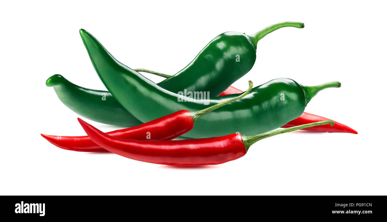 Green red chili peppers isolated on white background as package design element - Stock Image