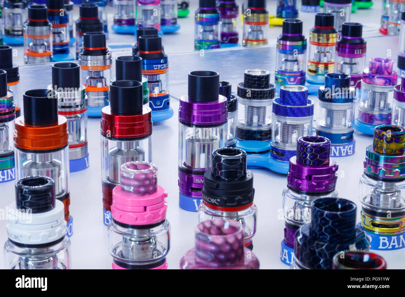 Indianapolis - Circa August 2018: Colorful vape cartridges in a vaping shop. The benefits of vaping as a way to quit smoking far outweigh the health r - Stock Image