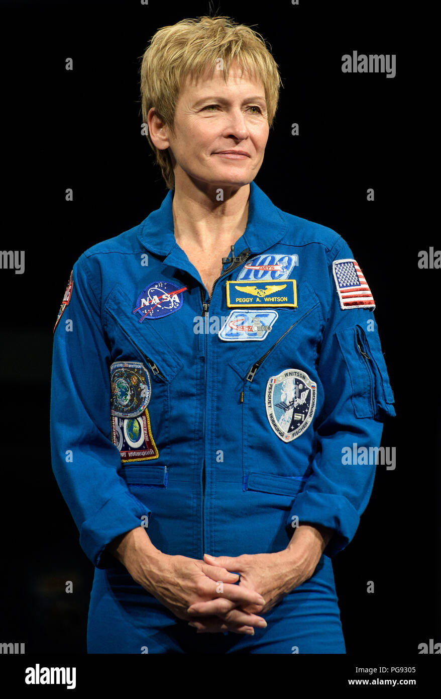 NASA astronaut Peggy Whitson is seen during an interview, Friday, March 2, 2018 at the Smithsonian's National Air and Space Museum in Washington. Whitson spent 288 days onboard the International Space Station as a member of Expedition 50, 51, and 52, conducting four spacewalks and contributing to hundreds of experiments in biology, biotechnology, physical science and Earth science during her stay. - Stock Image